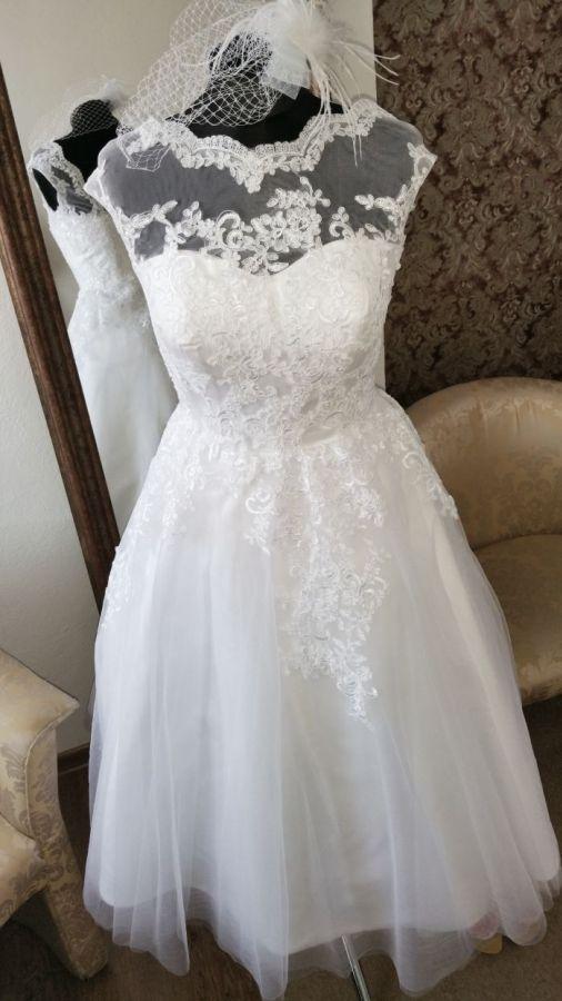 krátké retro svatební šaty bílé rockabilly 60´s - plesové šaty ... e89ba963f44